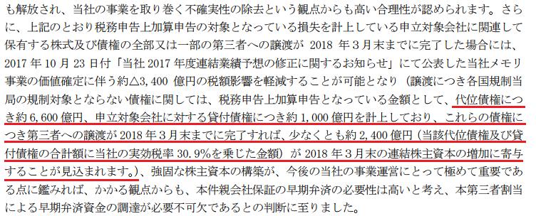 東芝プレスリリース「第三者割当による新株式発行に関するお知らせ」